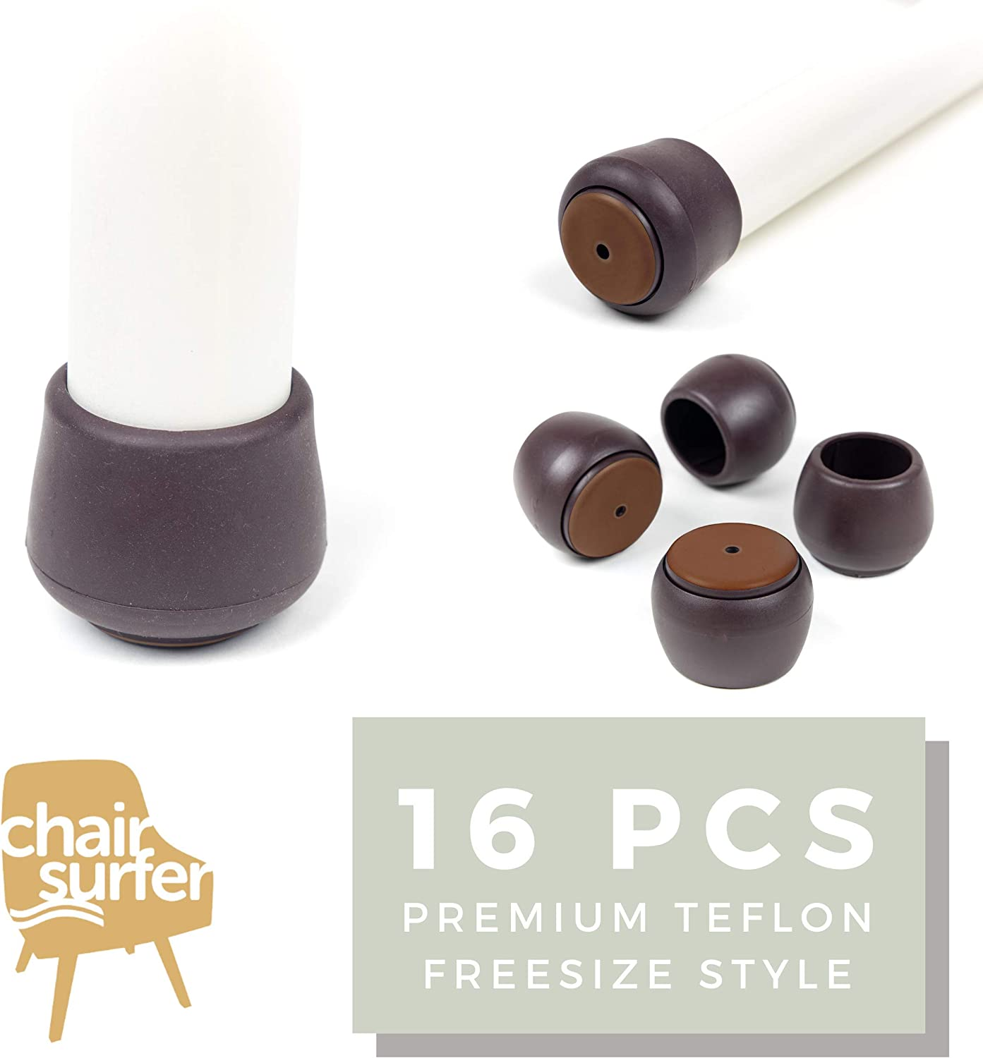 Chair Surfer Premium Furniture Leg Caps - Freesize, Teflon Pad, 16 Set - Floor Protectors with Extra Glide Sliders. Elastic Caps for Easy Hardwood Floor Protection. No Noise, No Dust (21mm~24mm) XS
