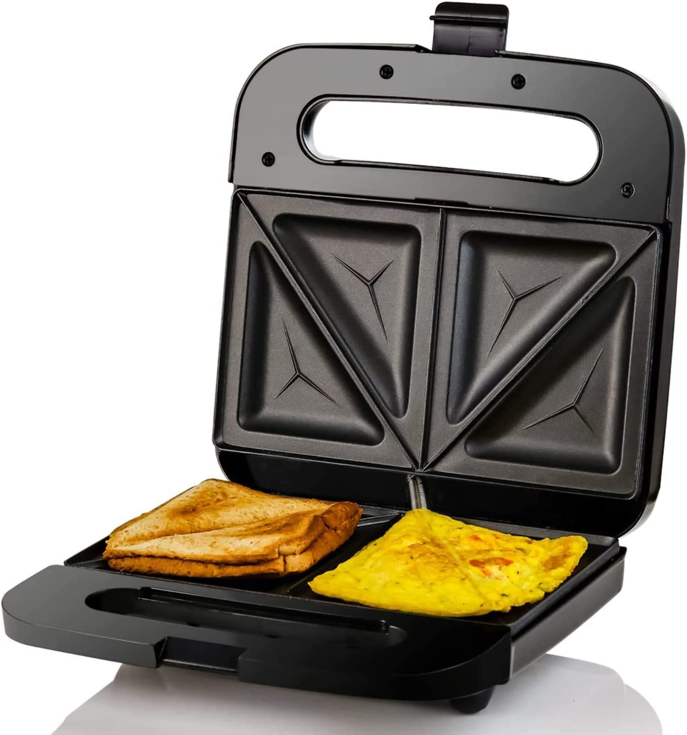 Amazon Com Ovente Electric Indoor Sandwich Grill Maker With Non Stick Cast Iron Grilling Plates 750w Countertop Bread Toaster Easy Storage Clean Perfect For Breakfast Grilled Cheese Egg Steak Black Gps401b Kitchen
