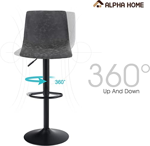 ALPHA HOME Bar Stools Counter Height Adjustable Bar Chair 360 Degree Swivel Seat Modern Square Pu Leather Kitchen Counter Stools Dining Chairs Set of 2,350 lbs Capacity.Grey