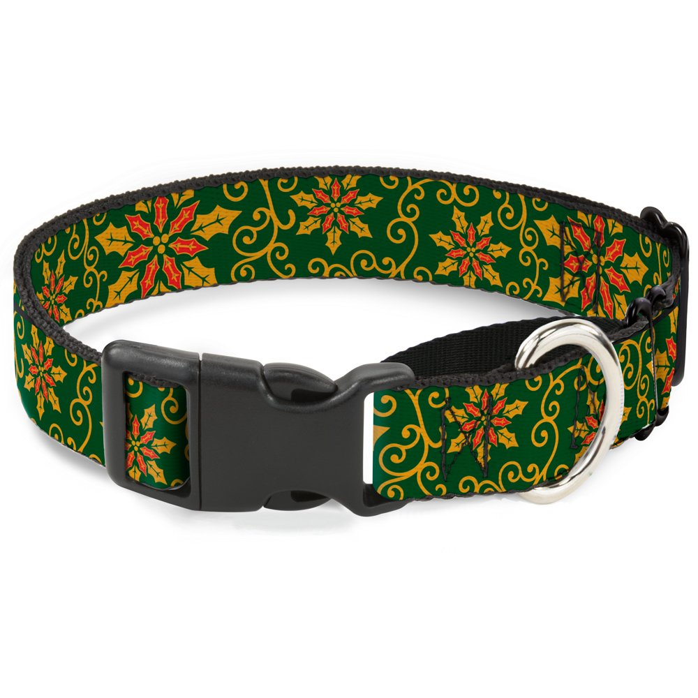 1\ Buckle-Down Holiday Holly Green gold Red Martingale Dog Collar, 1  Wide-Fits 9-15  Neck-Small