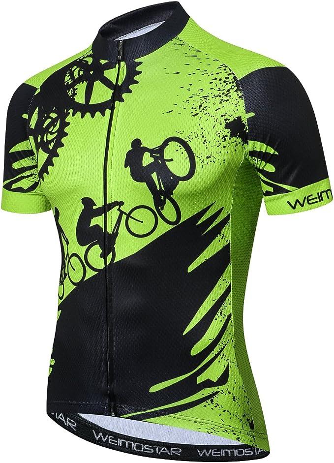 Sponeed Men Cycling Jersey Long Sleeve Bike Cycle Tops Wear Sports T-shirt Green