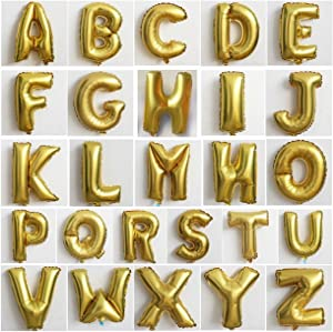 "Wellin 16"" Alphabet Letter and Number Balloons Set Package, Aluminum Hanging Foil Film, A - Z 0-9, Gold Silver and Blue (A-Z, Gold)"