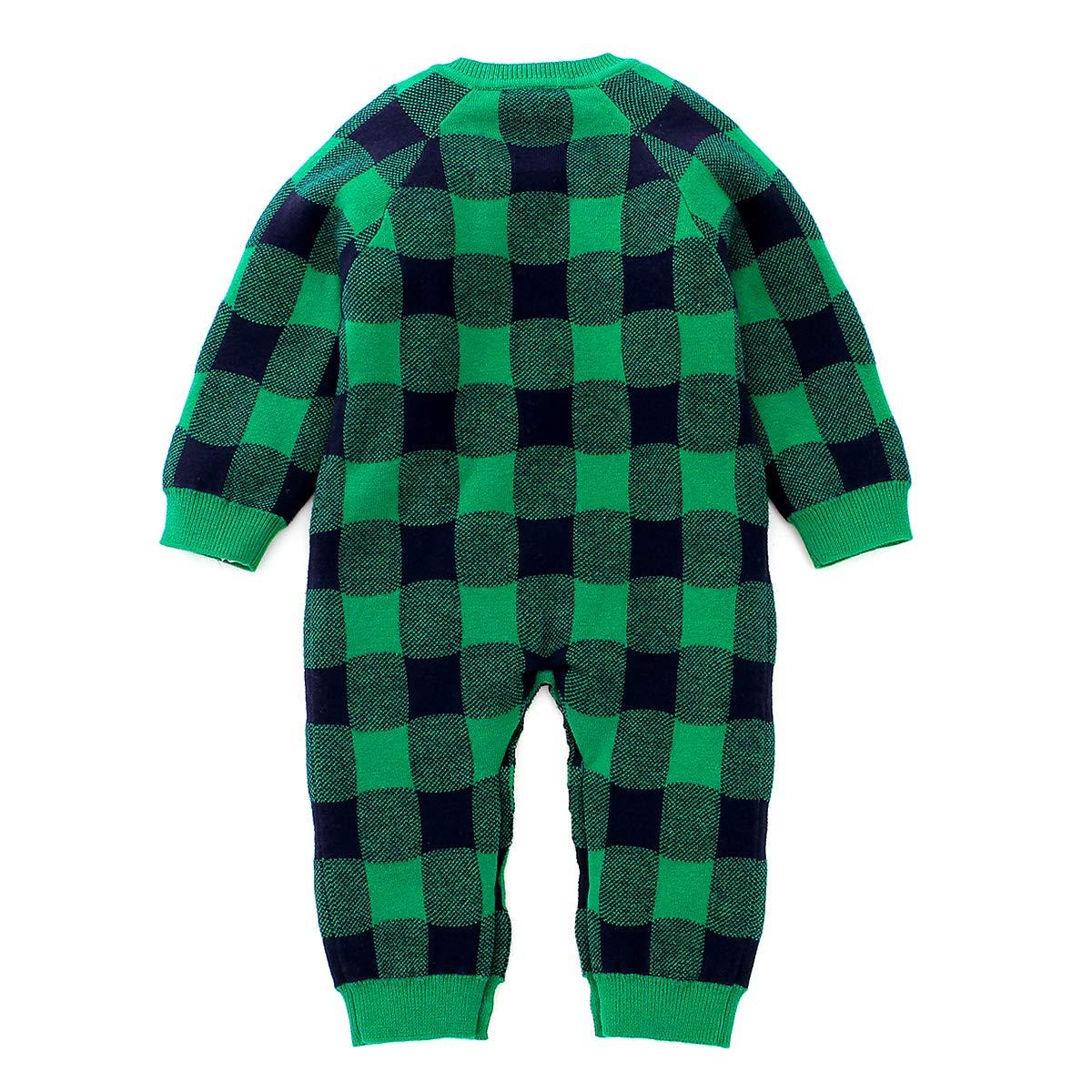 puseky Baby Boys Girls Long Sleeve Xmas Plaid Knit Romper Jumpsuit Christmas Elk Bodysuit Outfits