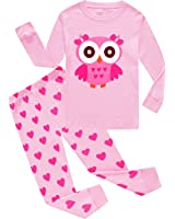 Girls Owl Pajamas Bulldozer Little Kids Pjs Sets 100% Cotton Toddler Sleepwears