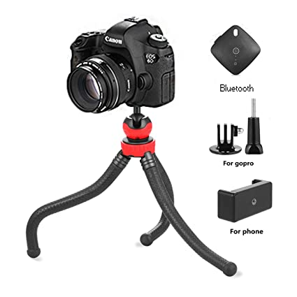 Flexible Tripod iPhone Cell Phone Tripod with Bluetooth Remote Control  Camera Travel Tripod for Canon Nikon Sony Sports Camera GoPro Weiruixin
