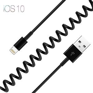 PhoneStar cable en espiral extensible USB al cable de carga del relámpago para Apple iPhone 7, 7 Plus, 7 Pro, 6s, 6s Plus, 6 Plus, 6, SE, 5s, 5c, 5, iPad Air 2, Air, Mini 1 a 3, 4, Pro – negro