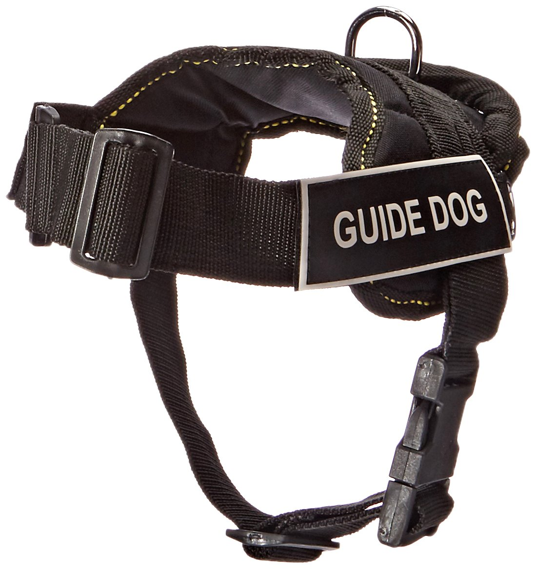 Dean & Tyler Fun Works Harness, Guide Dog, Black with Yellow Trim, X-Small, Fits Girth Size  20-Inch to 23-Inch