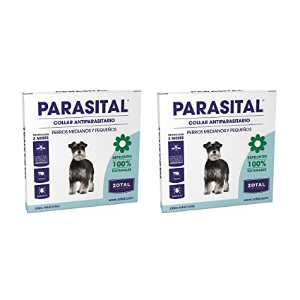 Zotal Parasital Collar Antiparasitario de 58 cm para Perros Pequeños y Medianos Pack de 2 -