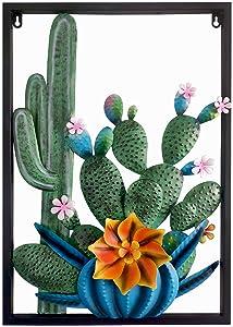Cactus Wall Decor, Large Outdoor Metal Flower Metallic Iron Wall Art for Indoor/Outdoor Decor(24X16 inch)
