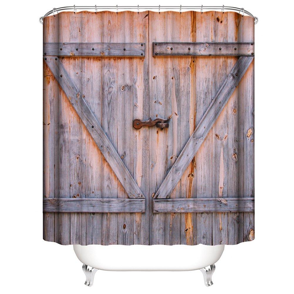 Rustic Shower Curtain, Old Wooden Door Shower Curtain,Mildew Resistant Waterproof Bathroom Curtain Vintage Wood Rustic Country Shower Curtain with Hooks, 72 x 72 inches