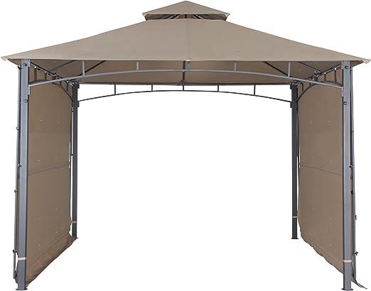Nube montaña patio Gazebo con dos paneles laterales parasol cortina de privacidad Patio barbacoa 2 niveles toldo 130