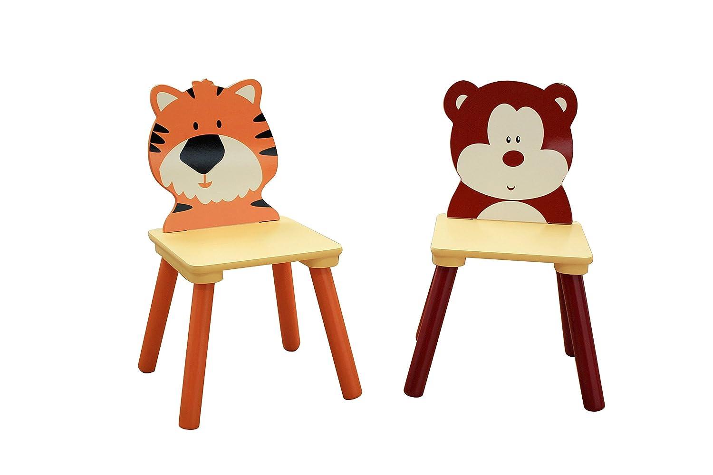 Liberty House Toys Jungle-Set di 2 sedie, legno, multicolore MZ3867-BD