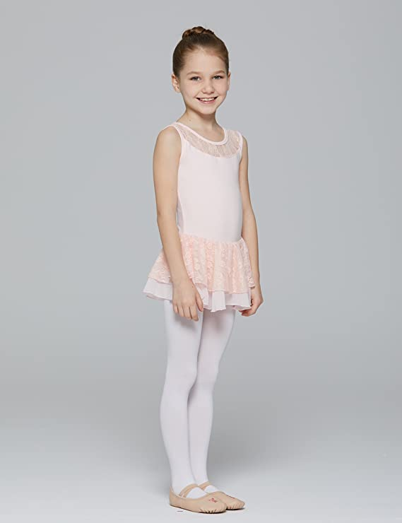 7188031da Amazon.com  MdnMd Girls  Tank Leotard with Attached Lace Skirt  Clothing