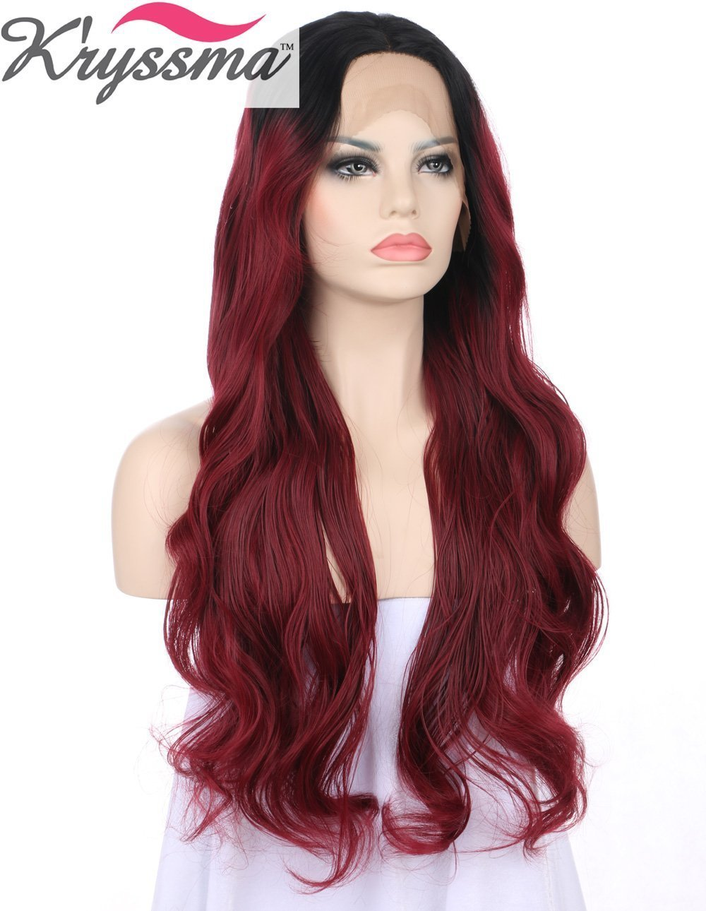 K'ryssma Ombre Wine Red Lace Front Wigs Synthetic Burgundy 2 Tones Dark Roots Long Wavy Glueless Lace Wig Replacement Full Wig For Women Heat Resistant 24 Inch For Christmas