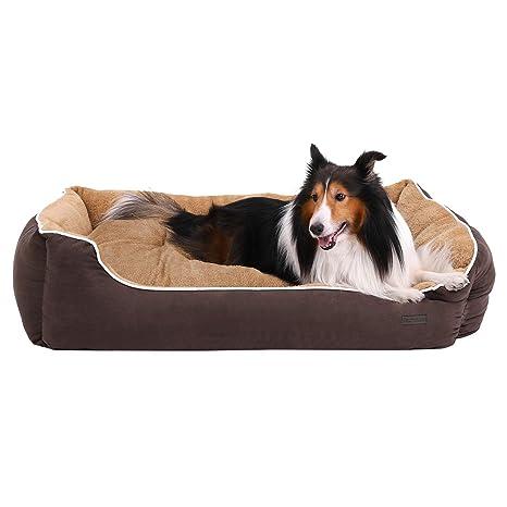 FEANDREA Cama para Perros, Sofá para Perros, Cesta para Perro con cojín extraíble, Marrón y Beige, 110 x 75 x 27 cm PGW07YC