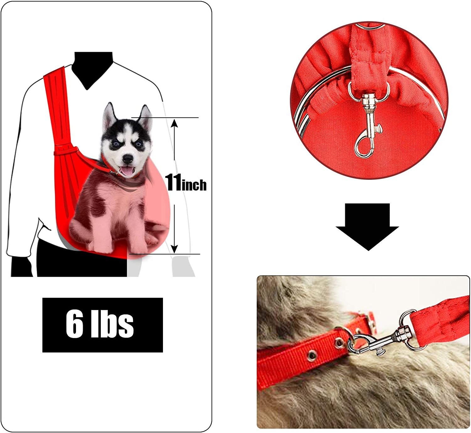TOMKAS Small Dog Cat Carrier Sling Hands Free Pet Puppy Outdoor Travel Bag Tote Reversible 71ZCiWyCL7L