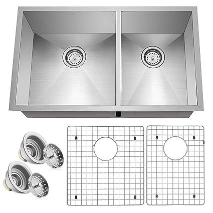 miligore 32 x 19 x 10 deep double bowl 60 40 split undermount rh amazon com Stainless Steel Undermount Double Sink Stainless Steel Double Bowl Kitchen Sink 33
