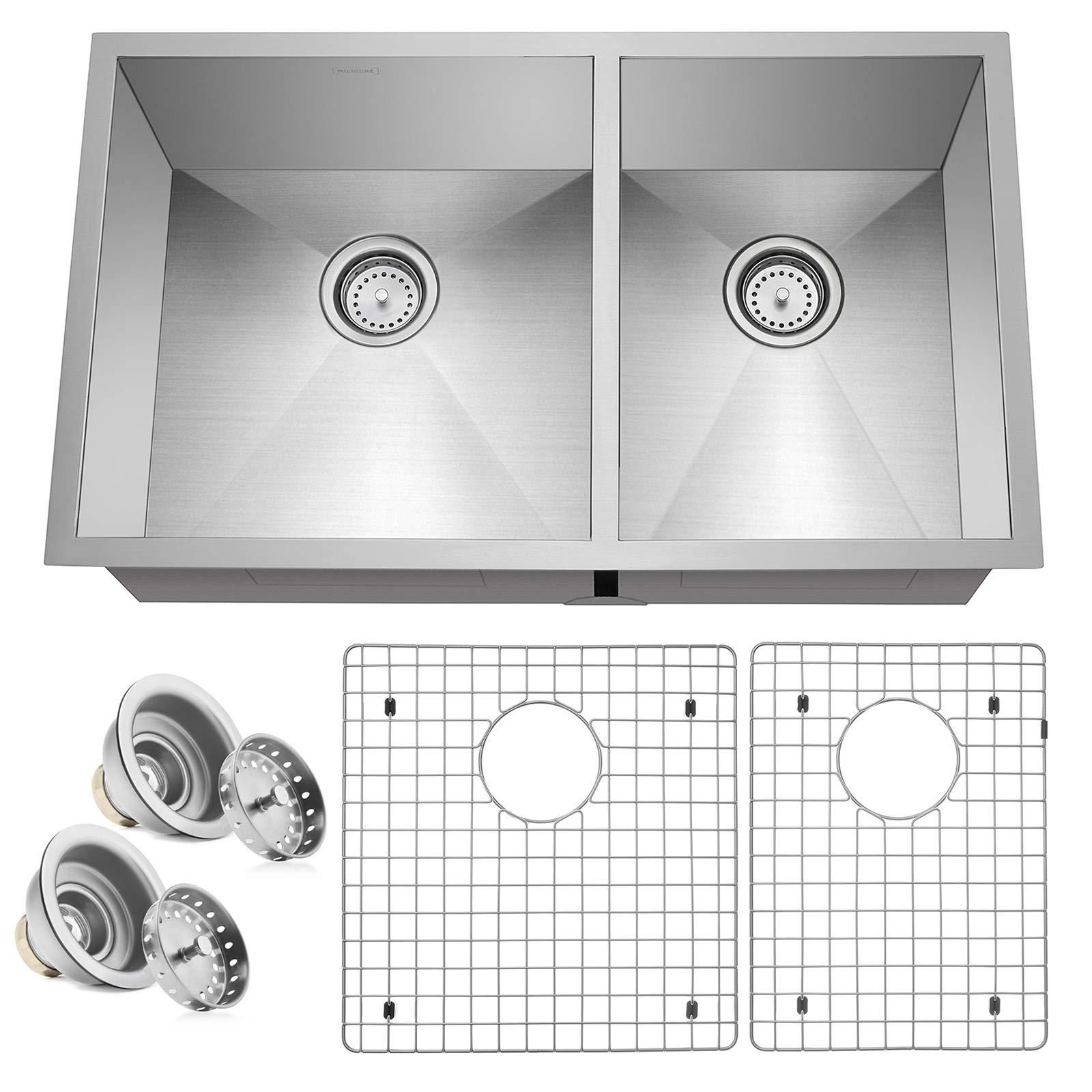 Miligore 32'' x 19'' x 10'' Deep Double Bowl (60/40 Split) Undermount Zero Radius 16-Gauge Stainless Steel Kitchen Sink - Includes Drains/Grids