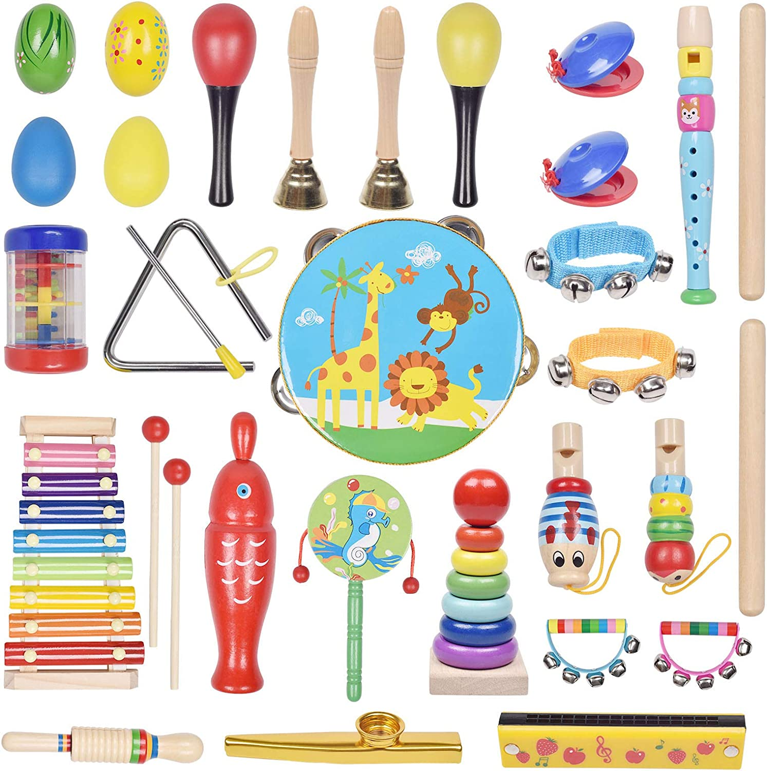 Musical Instrument Toys Set for Kids, 35-PCS Musical Toys for Toddlers Preschool Educational, with Storage Bag for Children, Tambourine, Music Bell & More: Toys & Games
