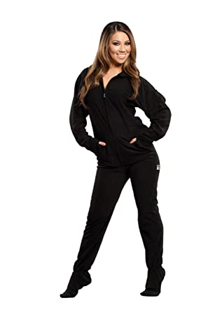 bfcd64a1f Amazon.com  Jumpin Jammerz Solid Black Adult Footed Onesie Pajamas ...