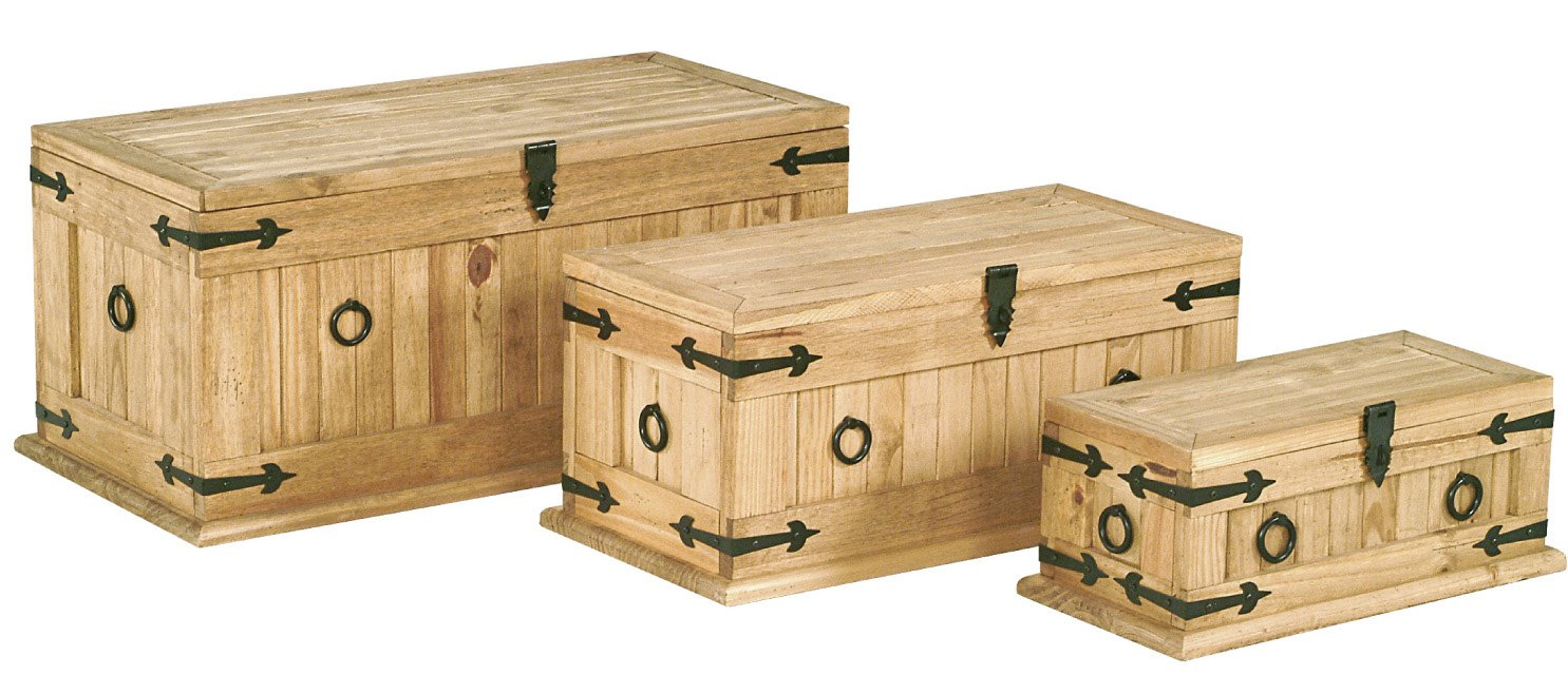 CORONA MEXICAN DISTRESSED LIGHT WAXED PINE MONTEREY TRUNK SET - 3 CHESTS
