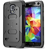 Galaxy S5 Case, i-Blason Armorbox Dual Layer Hybrid Full-body Protective Case with Front Cover and Built-in Screen Protector / Impact Resistant Bumpers (Black)