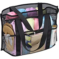 Chomeiu Beach Bag, Dry and Wet Separation Tote Bag Clear Mesh Multi-Space Travel Extra Large Beach Bag Foldable Portable Bath Towel Tote Bag