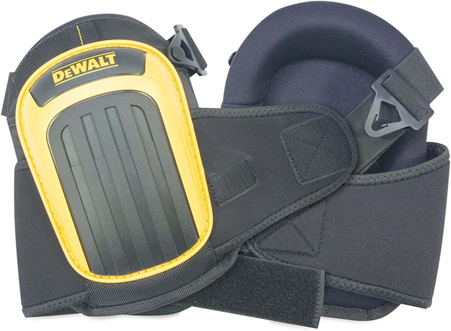 Image of two knee pads with yellow and black color cap, with word DeWALT seen on the front side.
