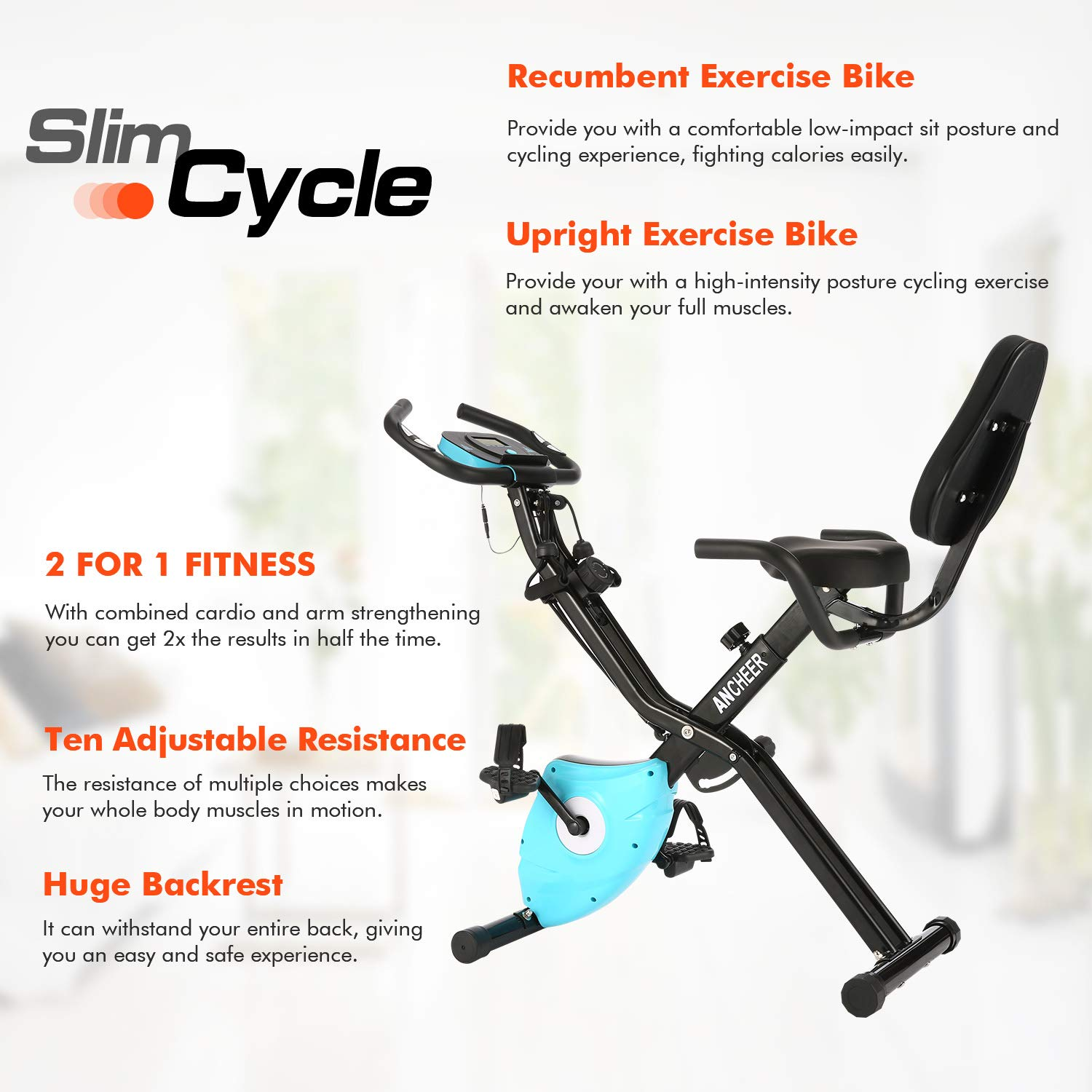 ANCHEER 2 in1 Folding Exercise Bike, Slim Cycle Indoor Stationary Bike with 10-Level Adjustable Magnetic Resistance and Arm Training Bands (Blue) by ANCHEER (Image #1)