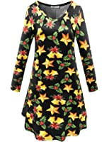 Aphratti Women's Holiday Gifts Print Causal Flare Swing Dress
