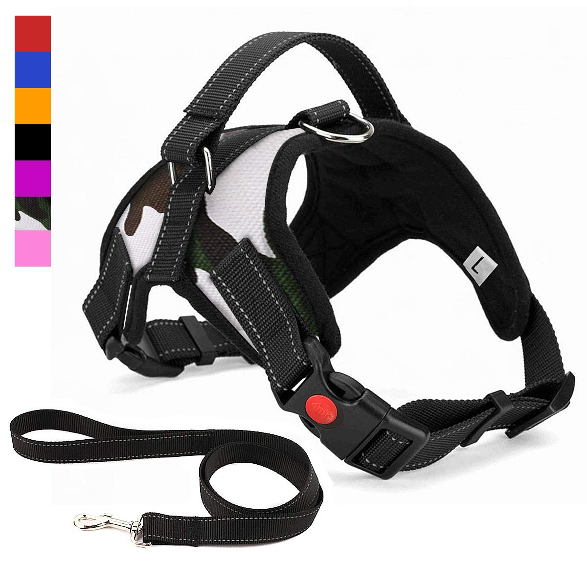 Musonic No Pull Dog Harness, Breathable Adjustable Comfort, Free Leash Included, for Small Medium Large Dog, Best for Training Walking