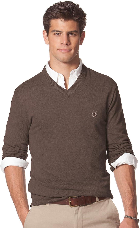 Brown Chaps Mens V-Neck Silk Blend Sweater