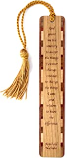 product image for God Grant Me Three Things Quote by Reinhold Niebuhr Engraved Wooden Bookmark with Tassel - Also Available Personalized