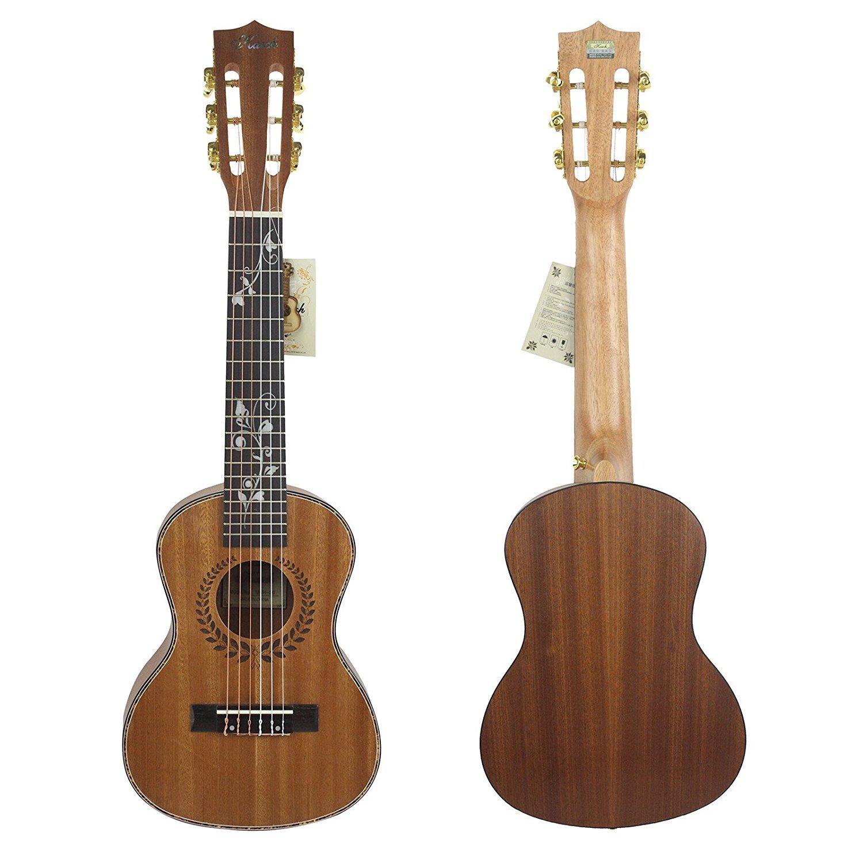 HJUNS 28 Guitalele Guitarlele Guilele Travel Guitar Solid Cedar Rosewood Fretboard Bridge Stringed Instrument with Free String and Bag 001