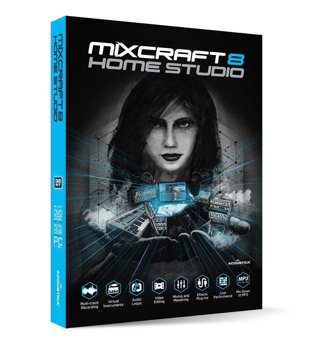 front facing Acoustica Mixcraft 8 Home Studio