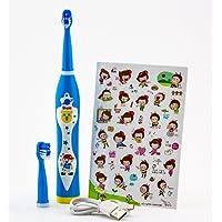 Ujs - Cepillo dental eléctrico recargable con sonidos y música - Ideal para niños mayores de 3 años, color azul
