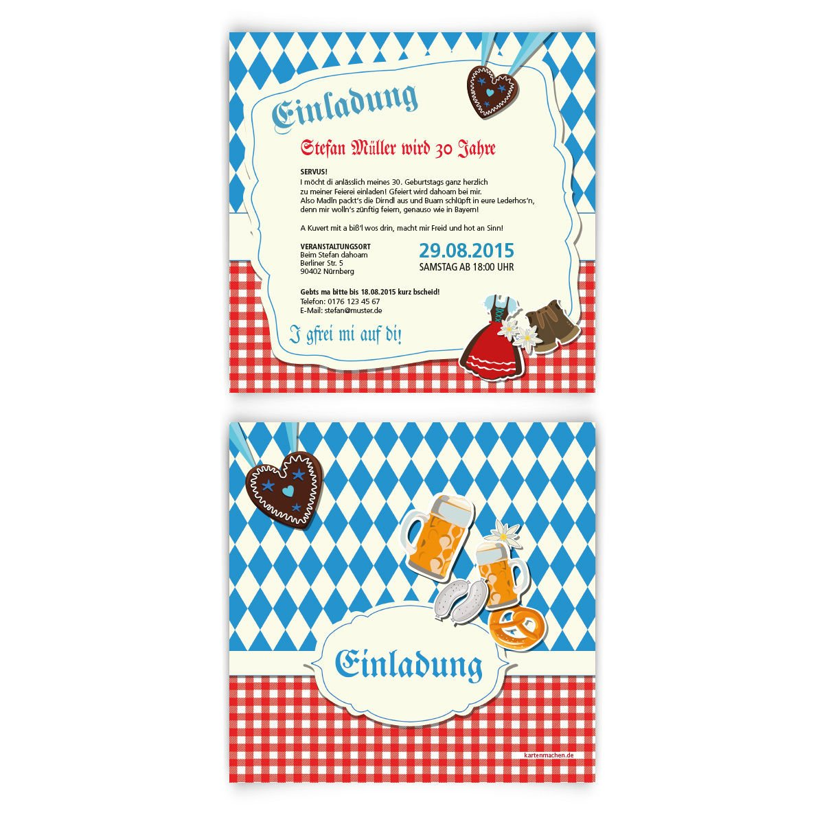 Einladungskarten Zum Geburtstag (30 Stück) Bayrisch Oktoberfest Einladung  Bayern Karten: Amazon.de: Bürobedarf U0026 Schreibwaren