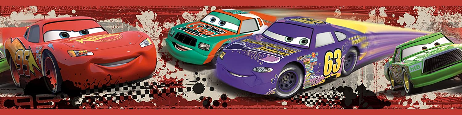 RoomMates Repositionable Childrens Wall Sticker Border Disney Cars Piston Cup Racing RMK1516BCS