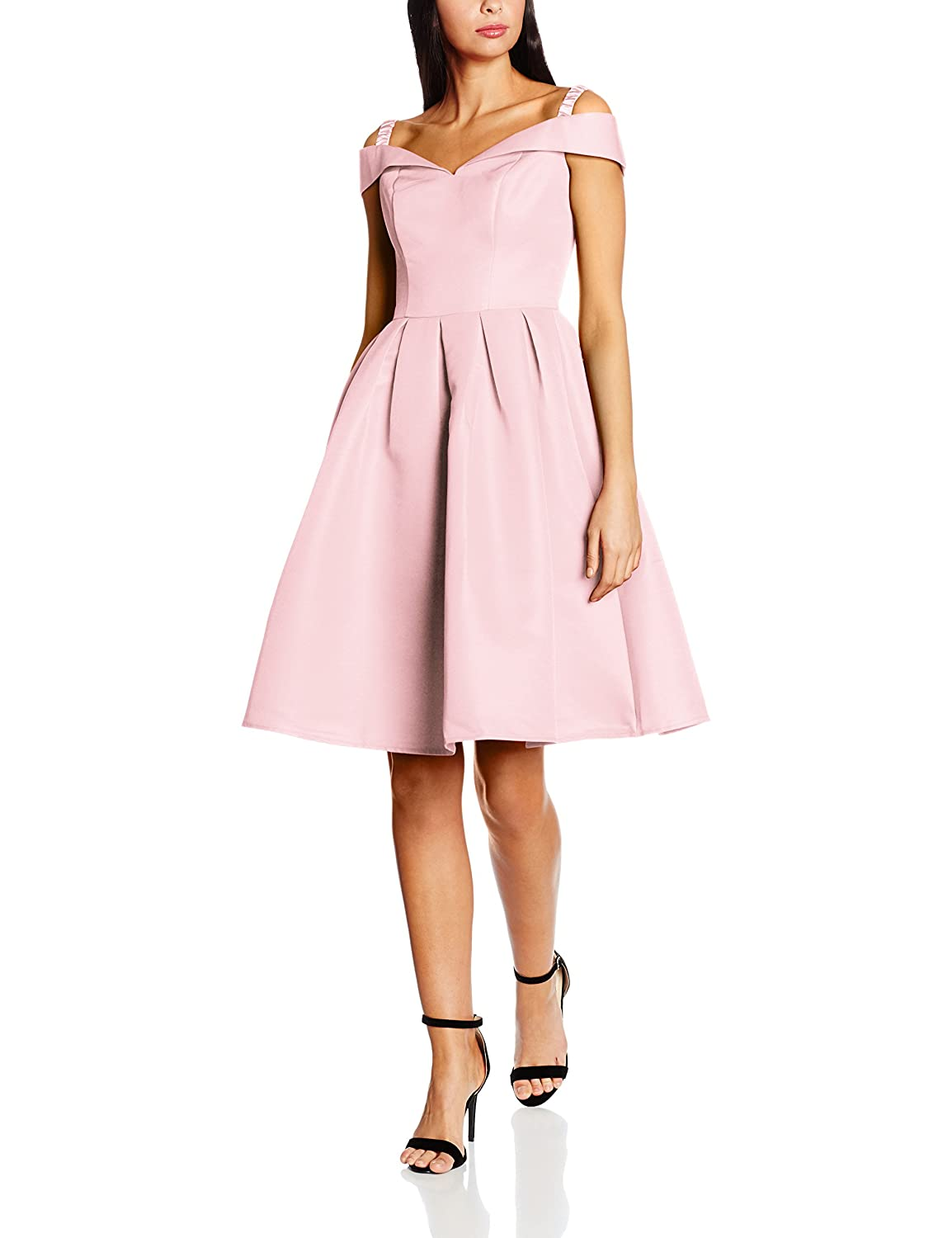 Chi Chi London Women's Fold-Over Bardot Midi Regular Dresses