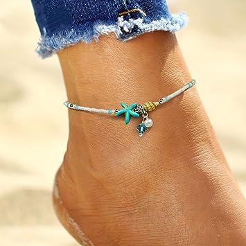 lnlyin Conch Estrella de mar Colgante Arroz Bead del pie clásica Yoga playa cadena)