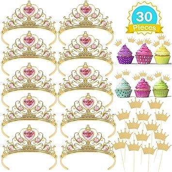 Casibecks Tiara Princesa Niña Princesa Corona Cupcake Topper ...