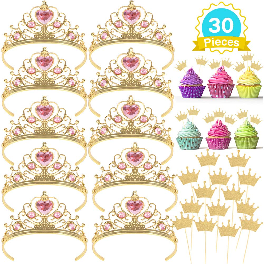 10 Pcs Princess Tiara and Crown with 20 Pcs Glitter Gold Crown Cupcake Toppers Gift Set Party Supplies for Girl's Birthday
