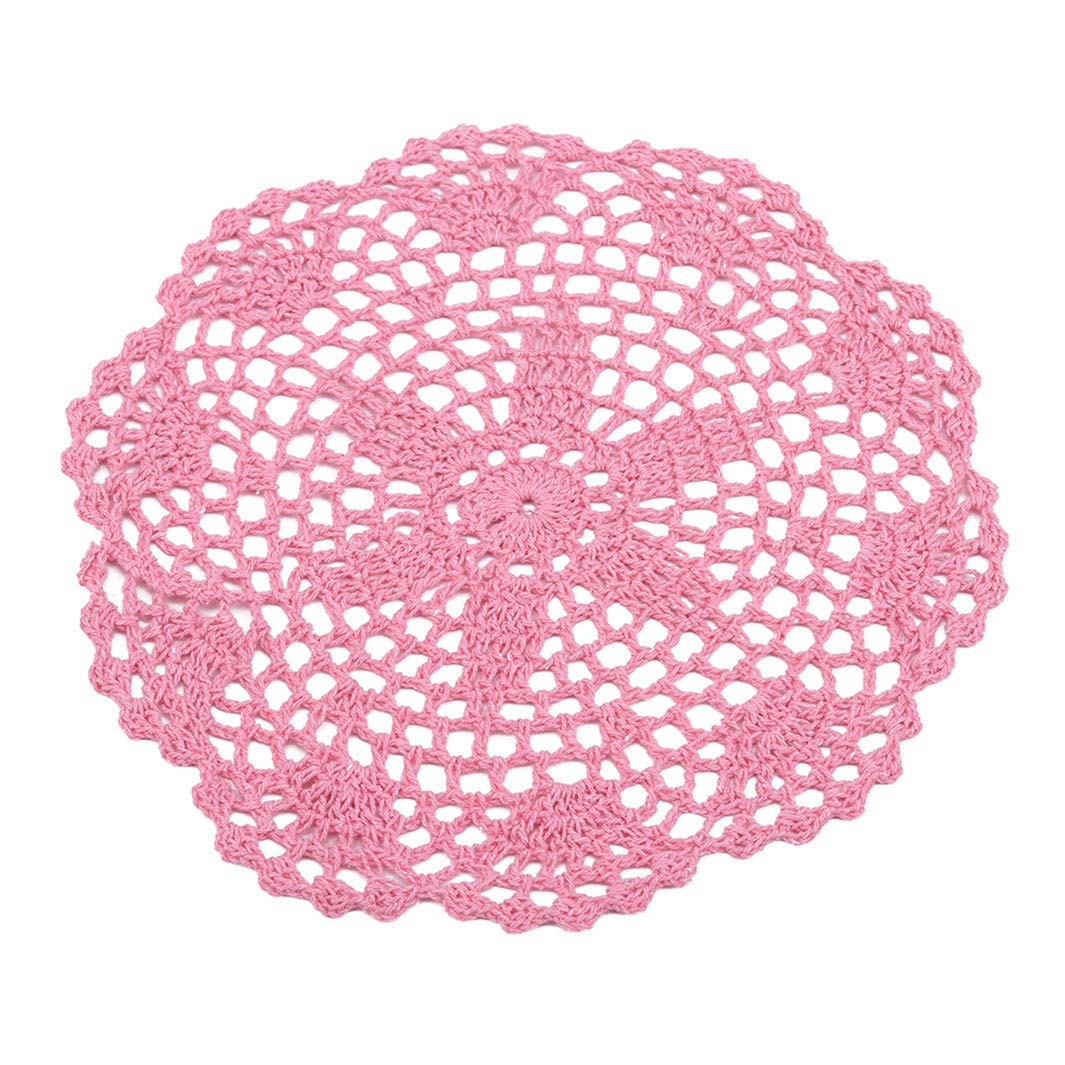 YouCY Round Floral Cup Pad Placemat Table Mat Dinner Coaster for Home Office Women Lady Girl Boy Men Gift,Pink