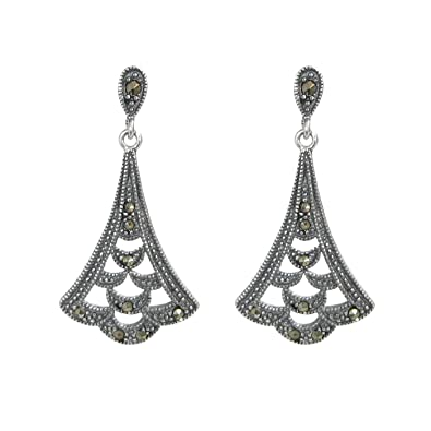 Amazon vintage 925 sterling silver marcasite teardrop bali vintage 925 sterling silver marcasite teardrop bali flower leaf charm chandelier earring stud post aloadofball Image collections