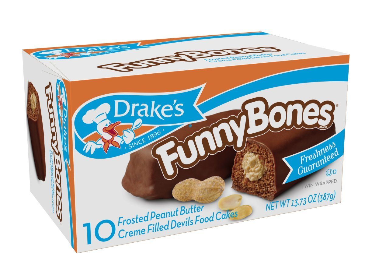 Drakes Funny Bones Snack Cakes, 10 cakes per box, 13.73oz of Funny Bones Peanut Butter Filled Devil's Cakes (4-Boxes) by Drake's