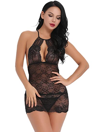 161a91d25f8a7c Image Unavailable. Image not available for. Color  Cherrydew Womens Halter  Babydoll Lingerie Set Sexy Lace Sheer Mesh Boudoir Outfits(Black ...