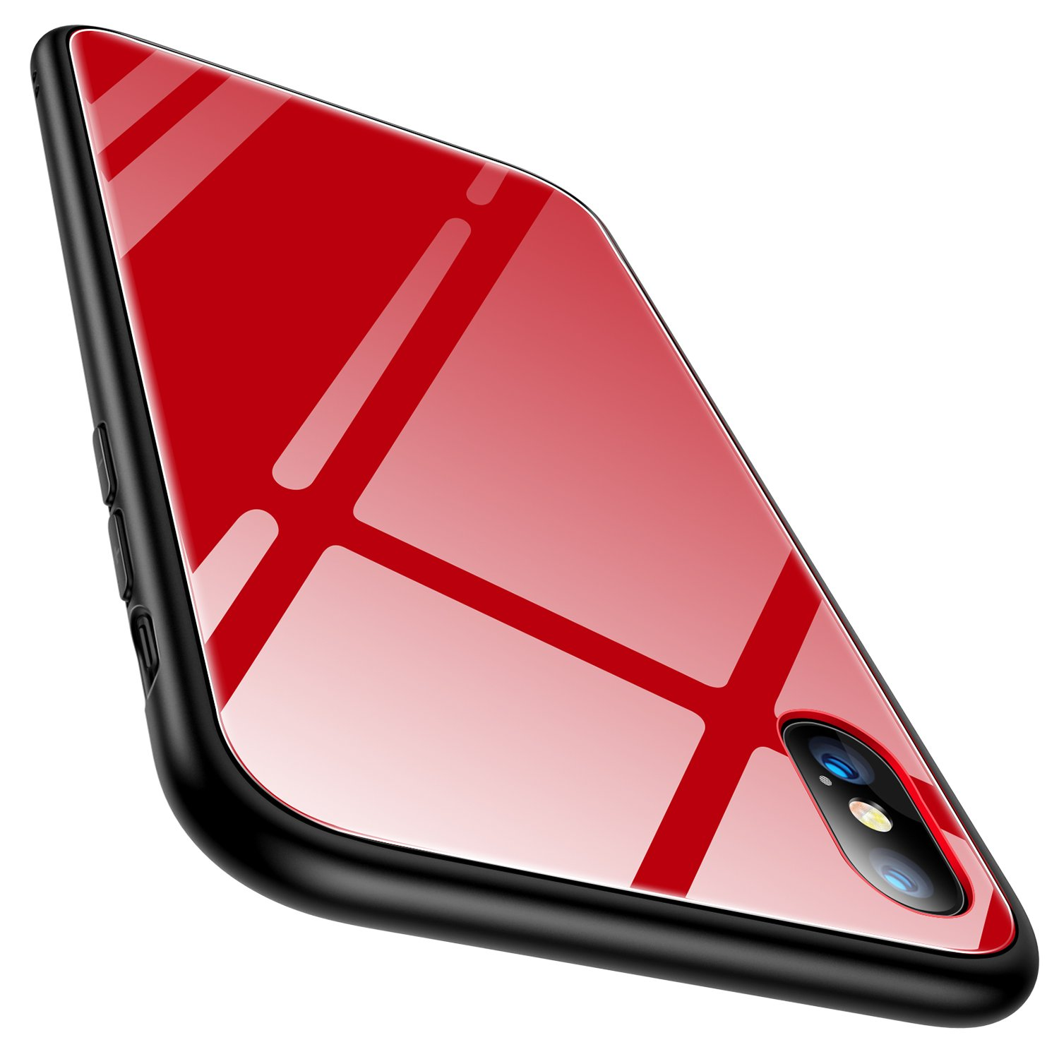 big sale bdf0b b3f1a iPhone X Case, TORRAS iPhone X Tempered Glass Hard Back Full Protective  Cover Case with Soft Bumper for Apple iPhone X, Red