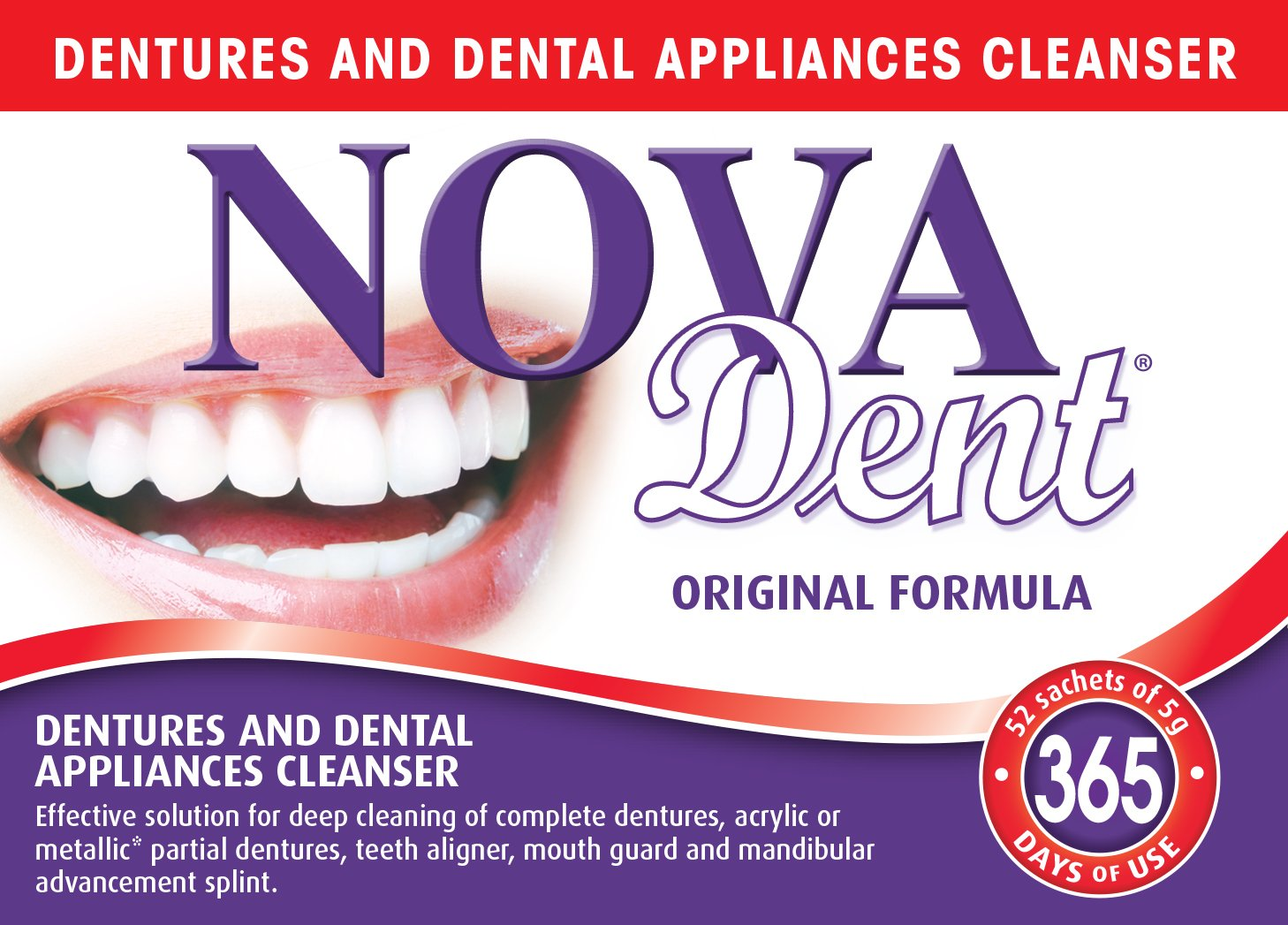 Novadent Original + FREE soaking bath | Dentures and dental appliances cleanser | 1 year (52 sachets) Novalab Canada inc.