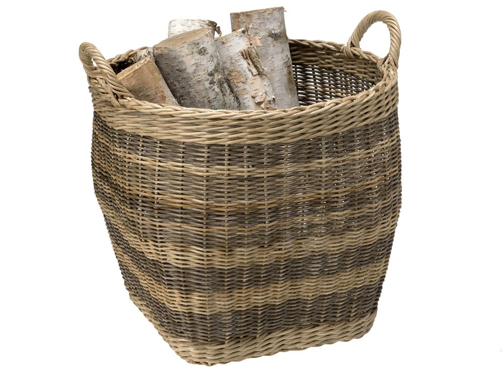 KOUBOO Striped Wicker Storage Basket, Small - Diameter 18 inches x 16 inches high (18.75 Inches with handles) Hand woven from wicker Perfect to store bed covers, pillows, toys, fire logs, gift wrap paper rolls or as a cachepot for large indoor plants - living-room-decor, living-room, baskets-storage - 712JSxJPQ3L -