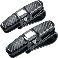 FineGood Brillenhouders voor autozonneklep, 2 stuks, met clip voor kaarten, zwart